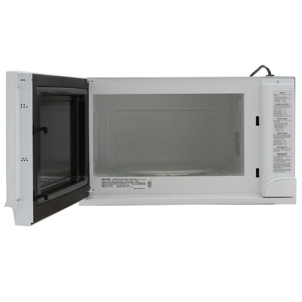 Sharp 1 5 Cu Ft Over The Counter Microwave In White With Sensor Cooking