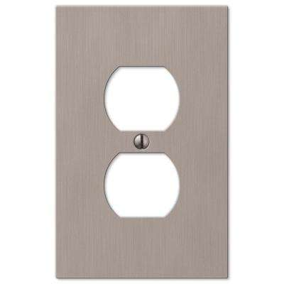 Barnard 1 Duplex Outlet Plate - Brushed Nickel Cast