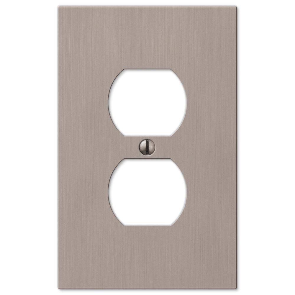 Barnard Brushed Nickel 1-Gang Duplex Metal Wall Plate (4-Pack)