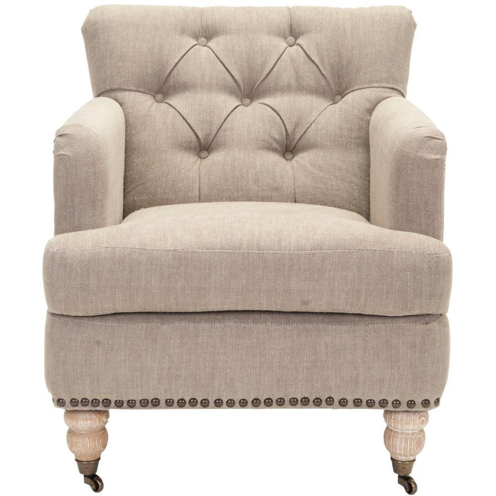 Safavieh Colin Taupe Linen Arm Chair