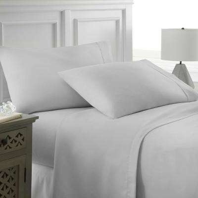 Performance Light Gray Queen 4-Piece Bed Sheet Set