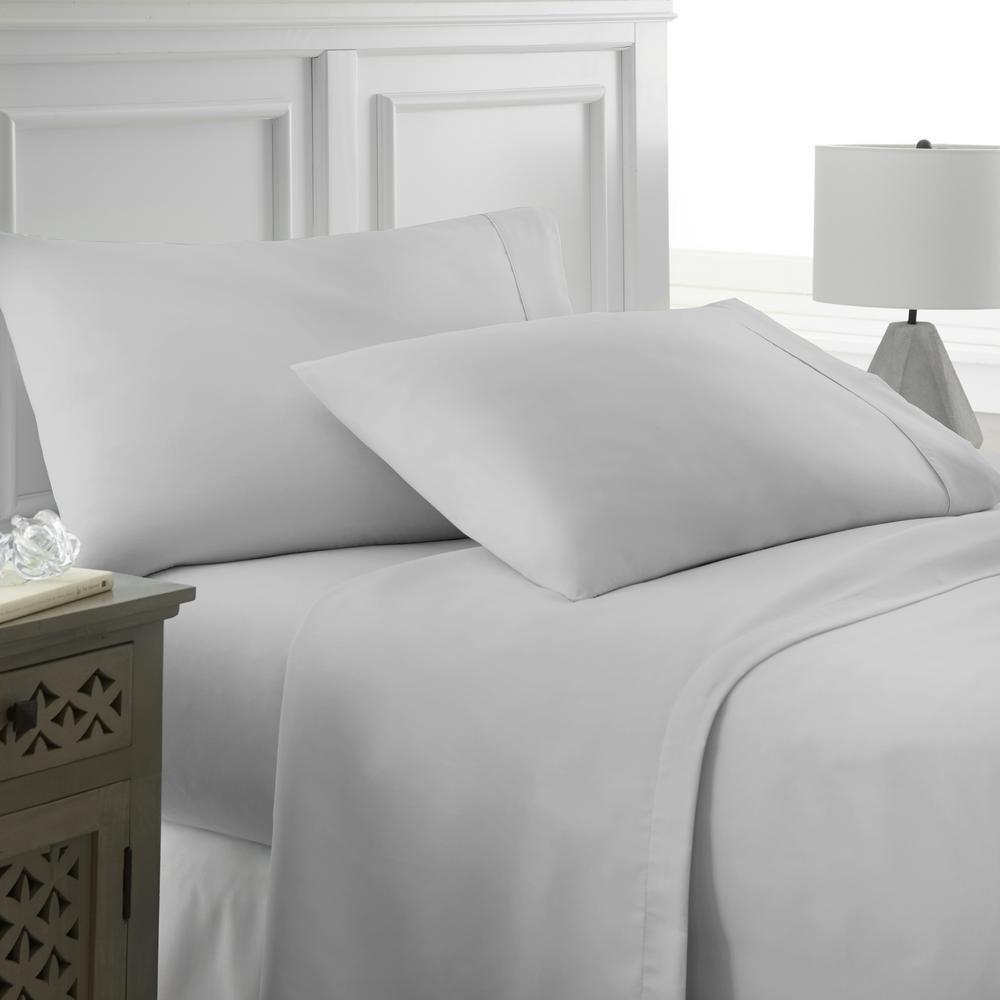 Becky Cameron Performance Light Gray Twin XL 4-Piece Bed Sheet Set