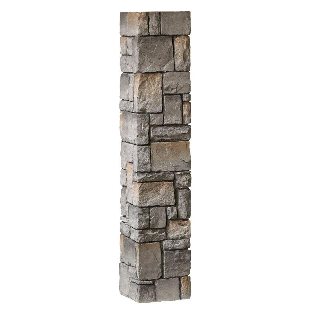 8-1/4 in. x 8-1/4 in. x 4-1/2 ft. Composite Gray Cobblestone