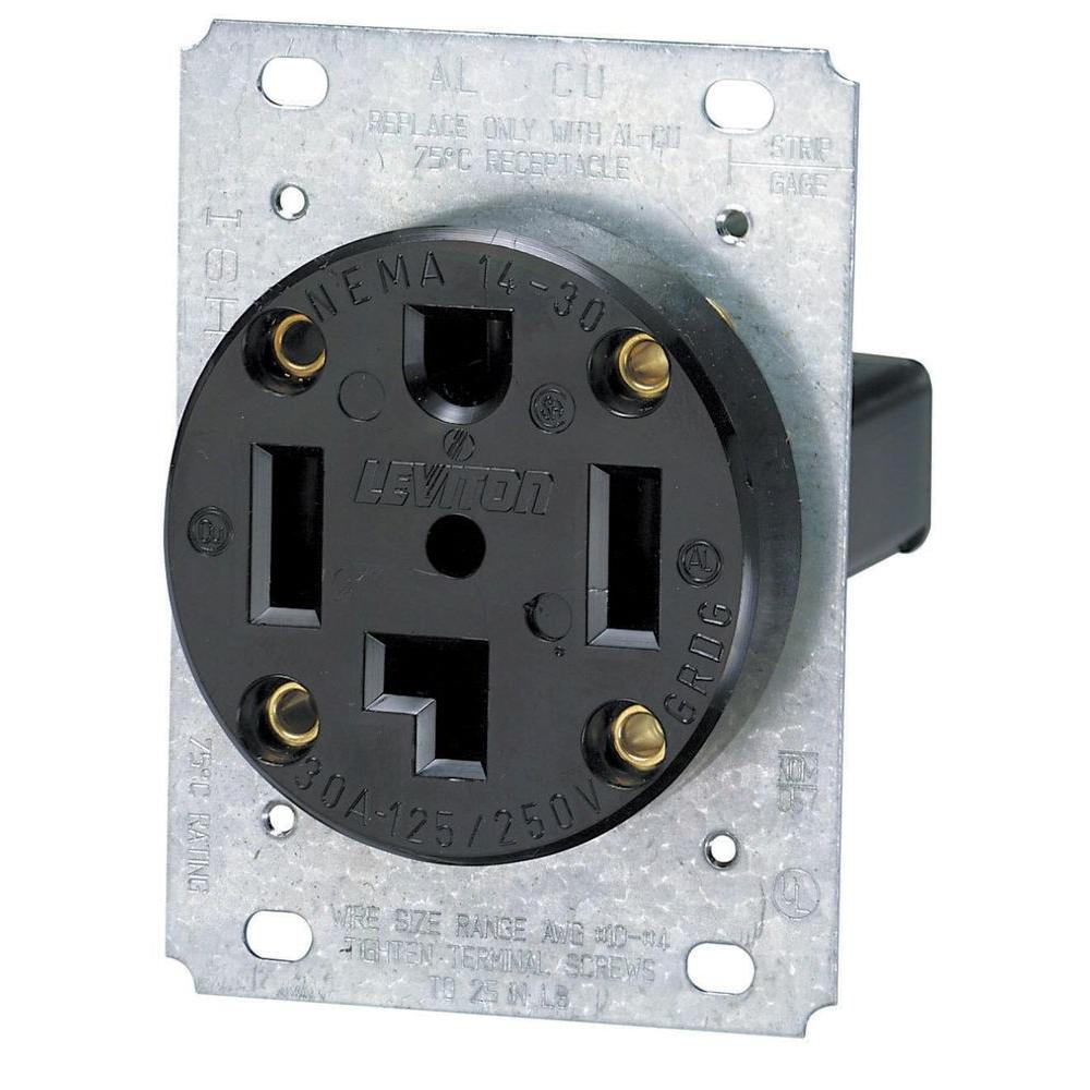 Leviton 30 Amp Industrial Flush Mount Shallow Single Outlet, Black