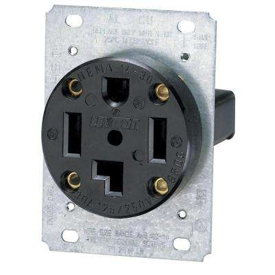 30 Amp Industrial Flush Mount Shallow Single Outlet, Black