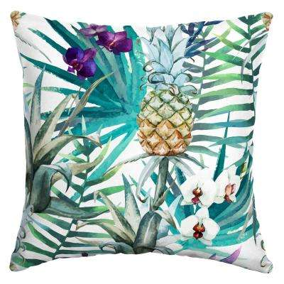 16 in. x 16 in. Ameera Tropical Square Outdoor Throw Pillow