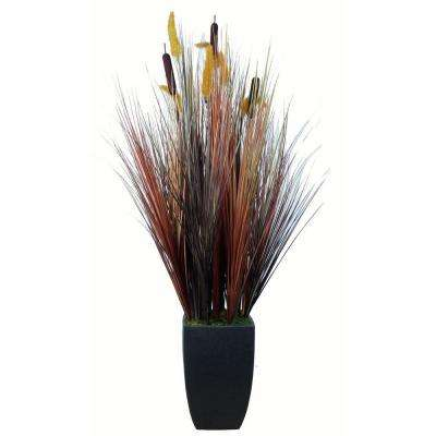 48 in. Tall Realistic Silk Contemporary Onion Grass Plant with Planter
