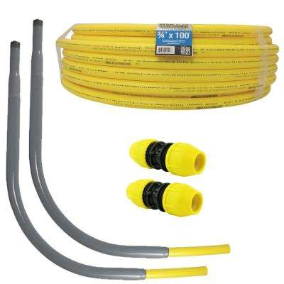 Underground 3/4 in. x 100 ft. IPS Polyethylene Gas Pipe New Install Kit, Two 3/4 in. Couplers, Two 3/4 in. Meter Risers