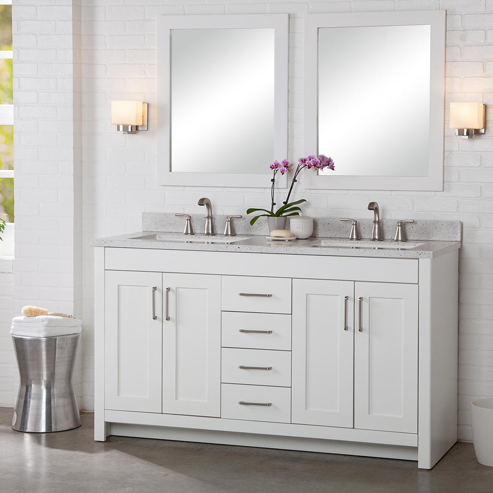 Westcourt 60 in. W x 21 in. D x 34 in. H Bath Vanity Cabinet Only in White