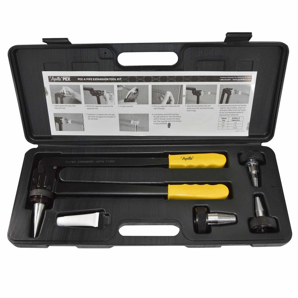 Apollo PEX-A Expansion Tool Kit with 1/2 in , 3/4 in  and 1 in  Expander  Heads