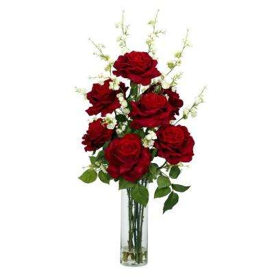 29 in. H Red Roses with Cherry Blossoms Silk Flower Arrangement