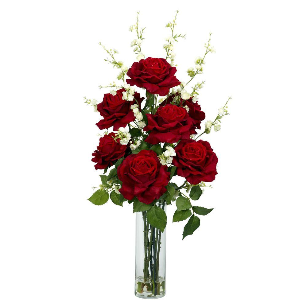 Nearly Natural 29 in. H Red Roses with Cherry Blossoms Silk Flower Arrangement