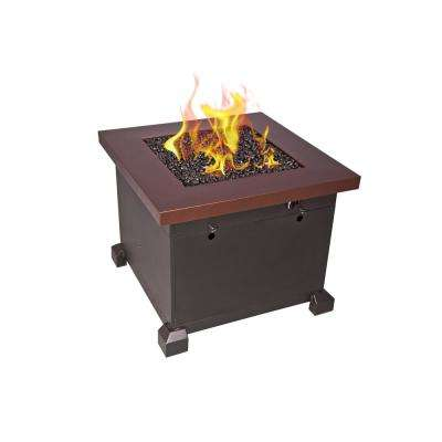 Santa Fe 30 in. x 24 in. x 30 in. Square Steel Propane Fire Pit Table in Bronze