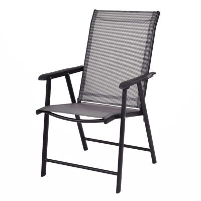 Black Metal Frame Outdoor Folding Lawn Beach Chair (Set of 4)