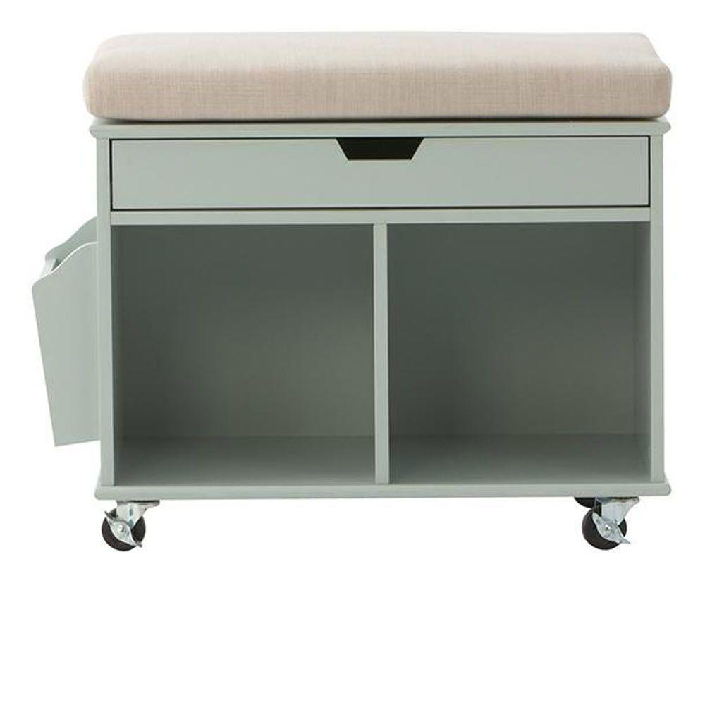 Home Decorators Collection Avery 2-Cube MDF Mobile Cart in Sea Glass
