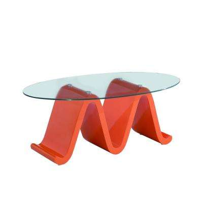 The Wave Elegant Glass Coffee Table Design with High Glossy Designer Orange Base