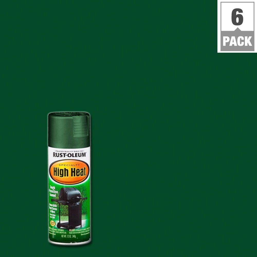Rust-Oleum Specialty 12 oz. Flat Green High Heat Spray Paint (6-Pack)