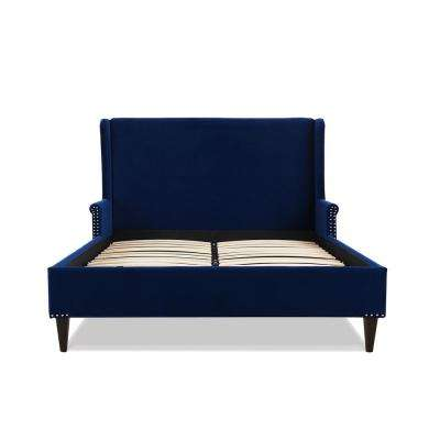Clarice Wingback Navy Blue Accent Queen Bed