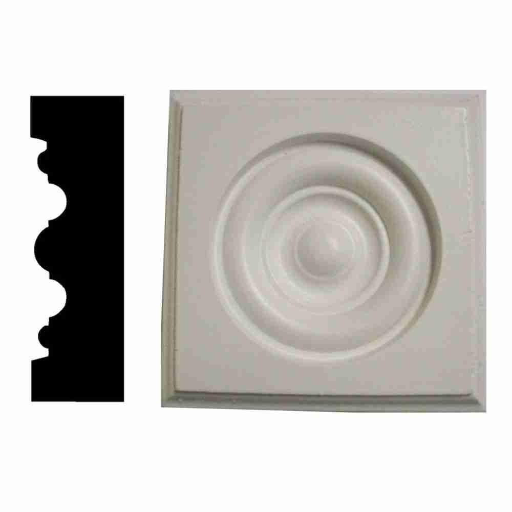 1 in. x 3-1/2 in. x 3-1/2 in. Pine Primed Rosette Corner Block Moulding