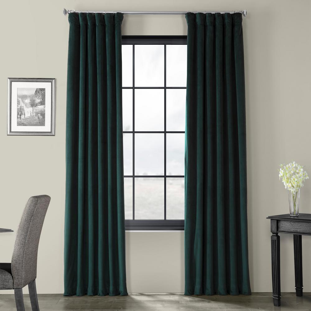 Signature Blackforest Green Blackout Velvet Curtain - 50 in. W x 108 in. L