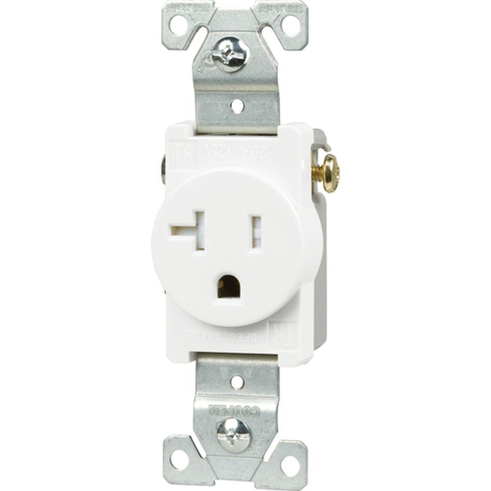 Eaton 20 Amp Tamper Resistant 2-Pole Single Receptacle with Side Wiring, White