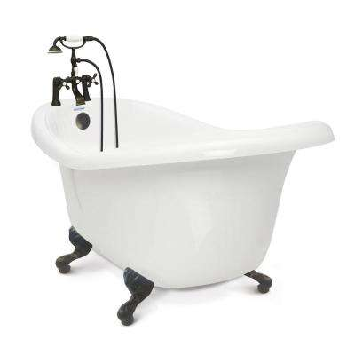 Acrylic Slipper Clawfoot Bathtub Package In White With Old Bronze Imperial Feet