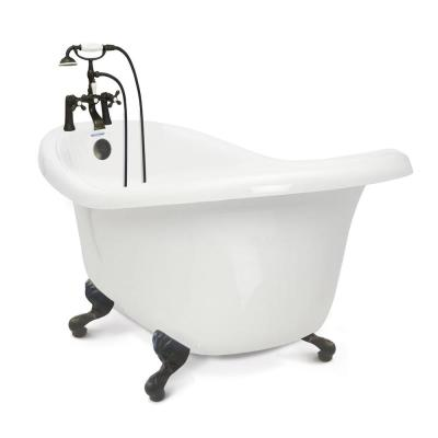 Chelsea 60 in. Acrylic Slipper Clawfoot Bathtub Package in White with Old Bronze Imperial Feet and Deck Mount Faucet