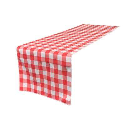 14 In. X 108 In. White And Coral Polyester Gingham Checkered Table Runner