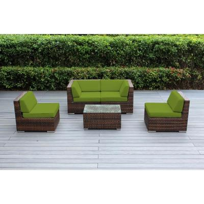 Ohana Mixed Brown 5-Piece Wicker Patio Seating Set with Sunbrella Macaw Cushions