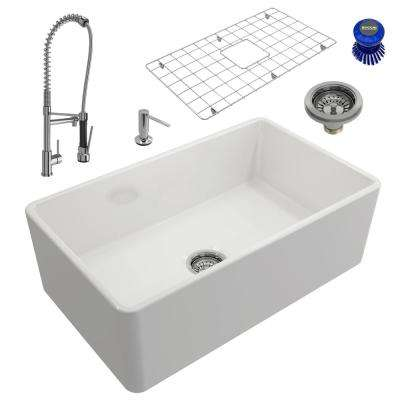 Classico All-in-One Farmhouse Fireclay 30 in. Single Bowl Kitchen Sink with Maggiore Chrome Faucet and Soap Disp