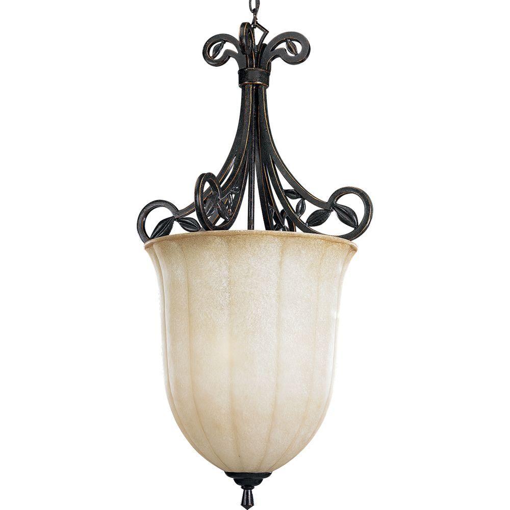 Progress Lighting Le Jardin Collection 3-Light Espresso Pendant with Weathered Sandstone Glass