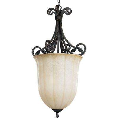 Le Jardin Collection 3-Light Espresso Pendant with Weathered Sandstone Glass