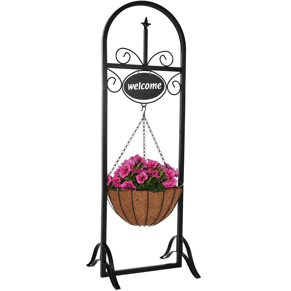 Decorative Iron Welcome Sign And Hanging Basket Planter Stand