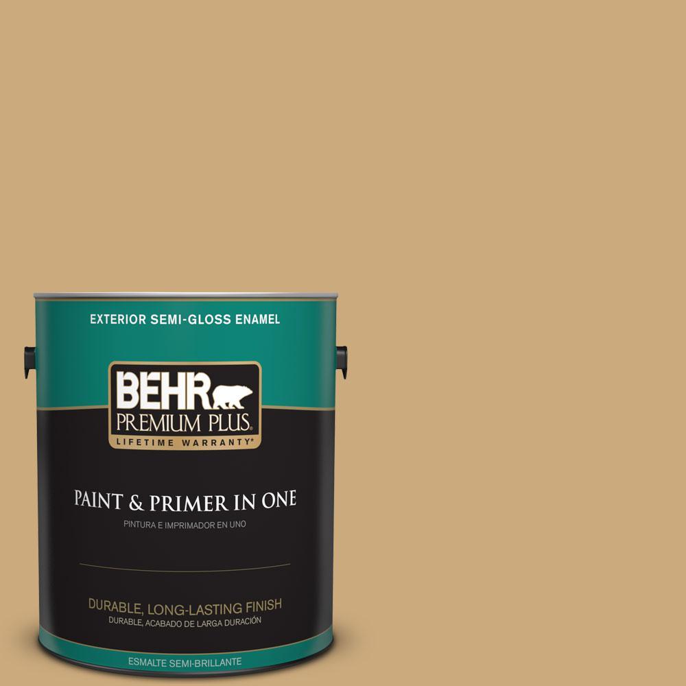 1-gal. #S300-4 Flax Straw Semi-Gloss Enamel Exterior Paint