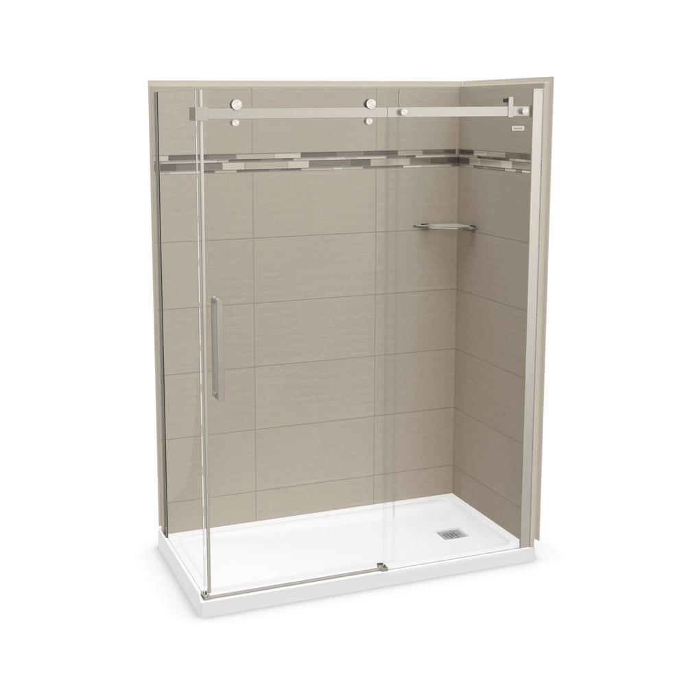 MAAX Utile Origin 32 in. x 60 in. x 83.5 in. Right Drain Corner Shower Kit in Greige with Brushed Nickel Shower Door
