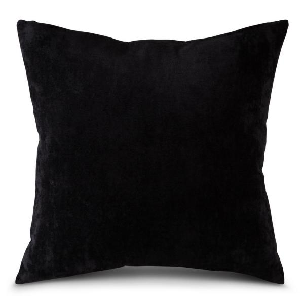 Solid Sable Velvet 24 in. x 24 in. Square Throw Pillow Cover
