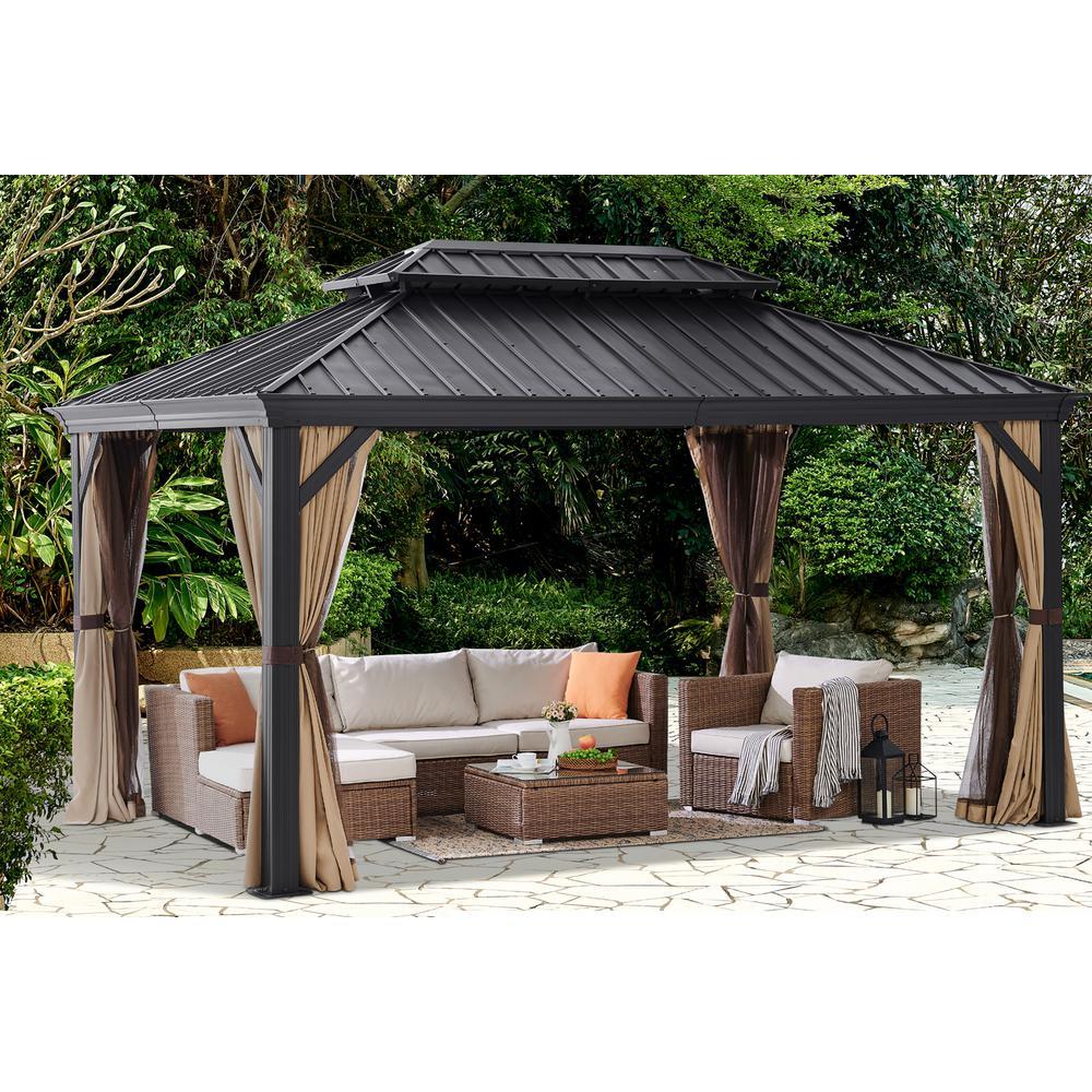 10 x 14 ft. Outdoor Backyard Hardtop Galvanized Steel Roof Patio 2-Panel Curtains Netting Gazebo with Aluminum Poles