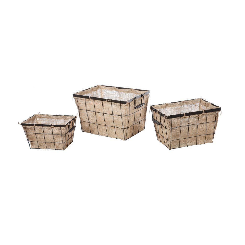 Beige/Black Burlap Storage Baskets (Set Of 3)
