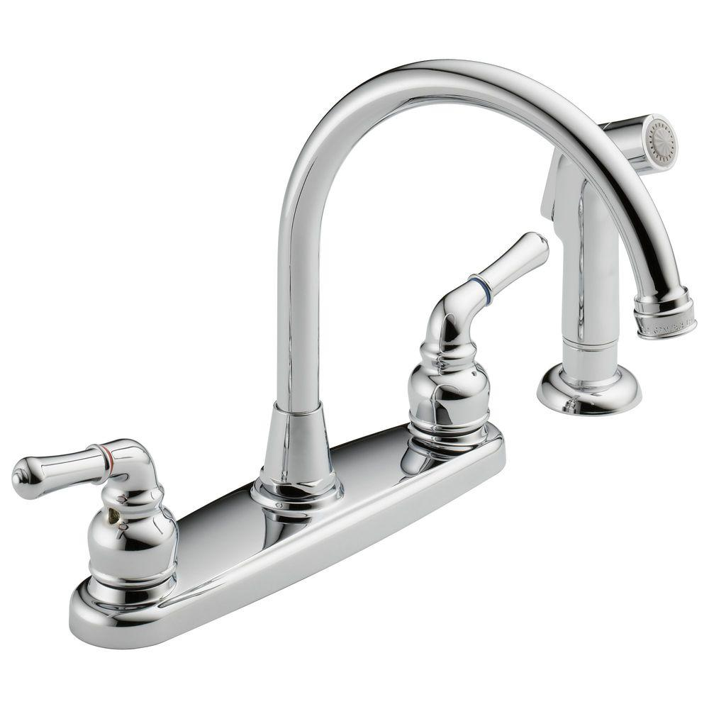 High Arc 2 Handle Standard Kitchen Faucet With Side