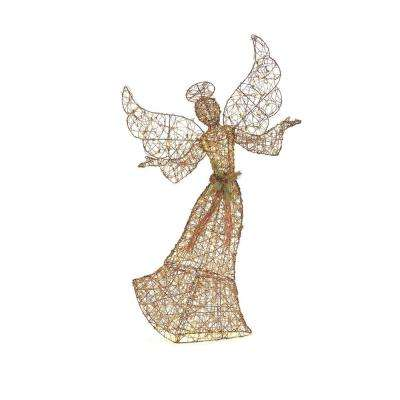70 in. LED Lighted Brown Grapevine Angel with Open Arms