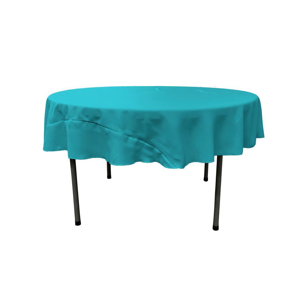 LA Linen Dark Turquoise 72 in. Round Polyester Poplin Tablecloth