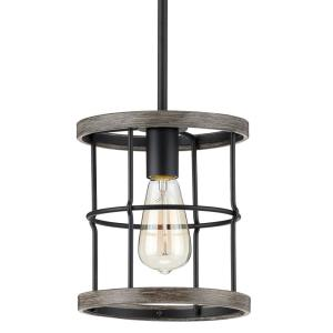 Fairforest 1-Light Matte Black with Aged Oak Accents Mini-Pendant