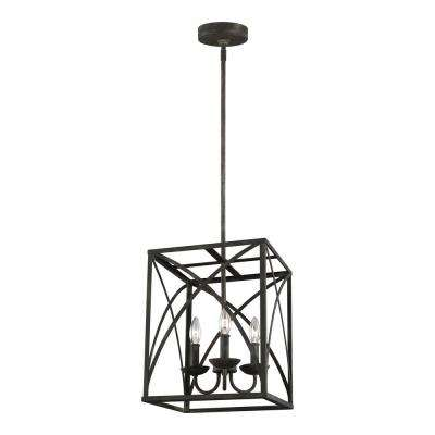 Greenbrier 12 in. W. 3-Light Iron Oxide Chandelier