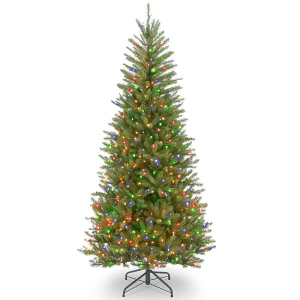6.5 ft. Dunhill Fir Slim Artificial Christmas Tree with Multicolor Lights