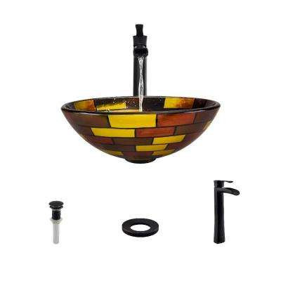 Glass Vessel Sink in Stained Glass with 731 Faucet and Pop-Up Drain in Antique Bronze