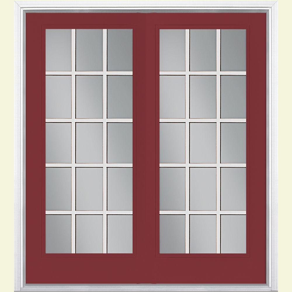 Masonite 60 in. x 80 in. Red Bluff Prehung Right-Hand Inswing 15 Lite Steel Patio Door with Brickmold in Vinyl Frame