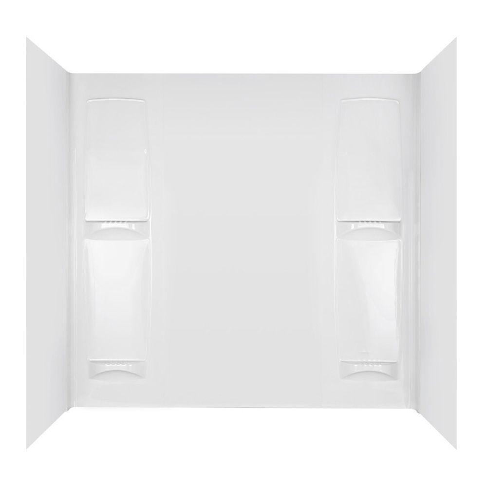 null 60 in x 32 in. Four-Shelf Bathtub Wall Set in White