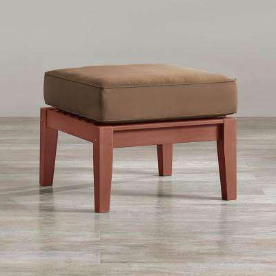 Verdon Gorge Brown Oiled Wood Outdoor Ottoman with Brown Cushion