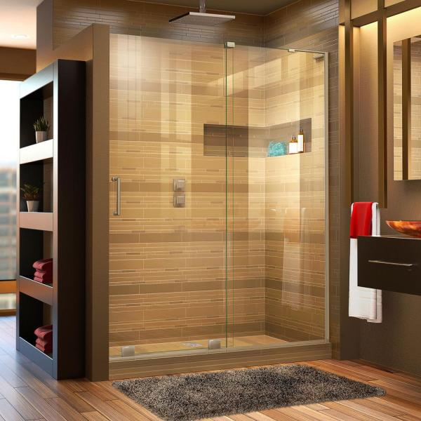 Mirage-X 56 in. to 60 in. x 72 in. Semi-Frameless Sliding Shower Door in Brushed Nickel