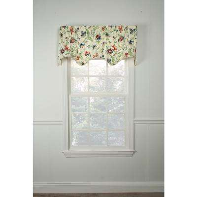 Carolina Crewel 15 in. L Cotton Lined Scallop Valance in Multi